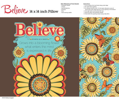 Believe_brown_Pillow_14x14-01 fabric by mindsthatcreate on Spoonflower - custom fabric