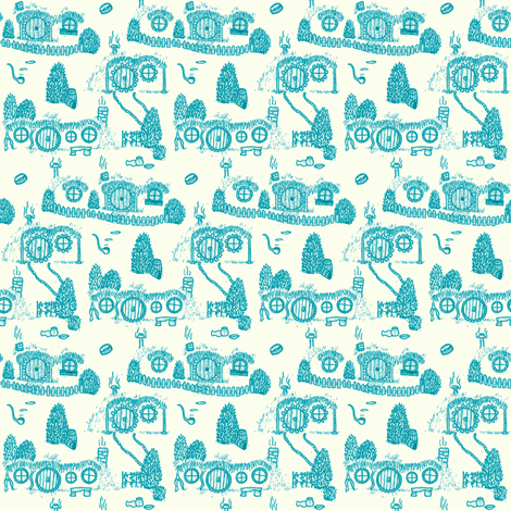 Blue Shire Toile fabric by spikymammal on Spoonflower - custom fabric