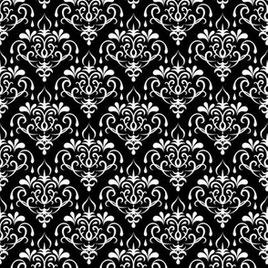 damask small - black and white