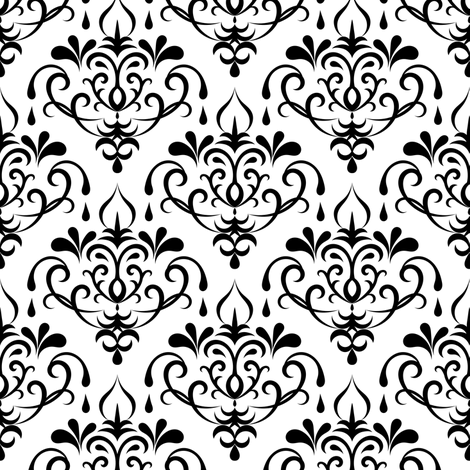 damask - white and black fabric by ravynka on Spoonflower - custom fabric