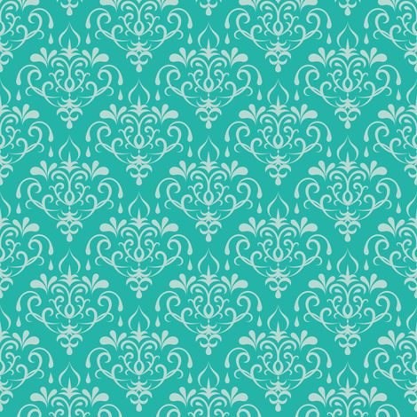 damask small - turquoise and mint fabric by ravynka on Spoonflower - custom fabric