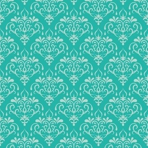 damask small - turquoise and mint