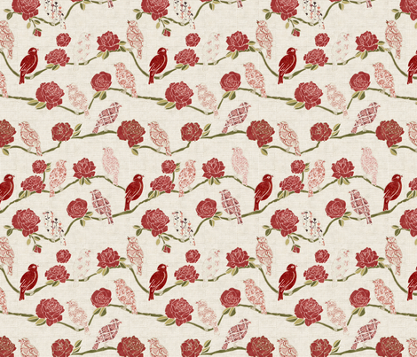 nightingale_and__rose fabric by kirpa on Spoonflower - custom fabric