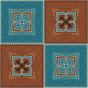 Victorian Pattern Turquoise and Brown
