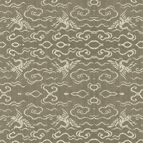 Golden Crane - stone - lg fabric by materialsgirl on Spoonflower - custom fabric