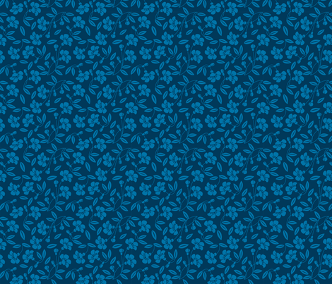 Japanese blossom indigo fabric by cjldesigns on Spoonflower - custom fabric