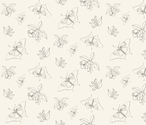 Butterflies and Crabapples - Oatmeal fabric by caitieillustrates on Spoonflower - custom fabric