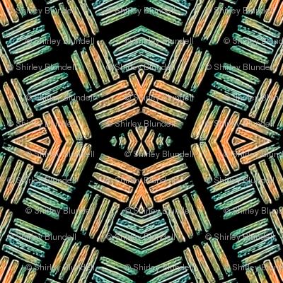 Block Print -African - green and orange