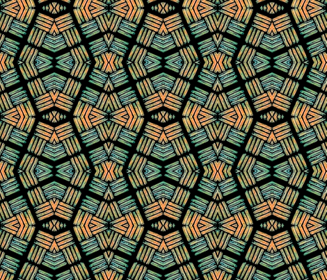 Block Print -African - green and orange  fabric by koalalady on Spoonflower - custom fabric