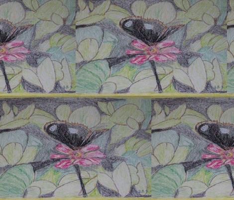 black buffer fly amid foliage fabric by rachana on Spoonflower - custom fabric