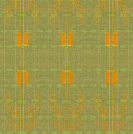 Decoscape Moss And Lime Green Orange Fabric