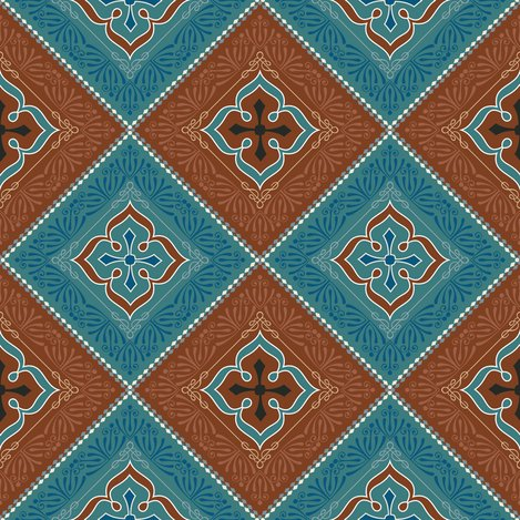 Rrvictorian_floral_pattern_brown_and_turquoise_diagonal_shop_preview