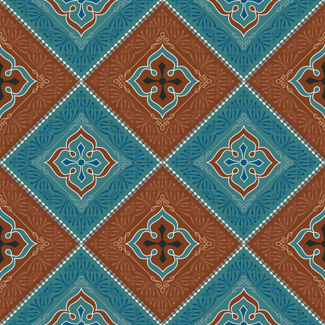 Victorian Floral Pattern Brown and Turquoise Diagonal fabric by galleryhakon on Spoonflower - custom fabric
