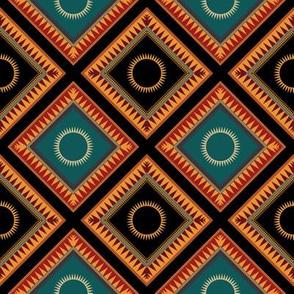 Victorian Geometric Sun Pattern Rich Colours Diagonal