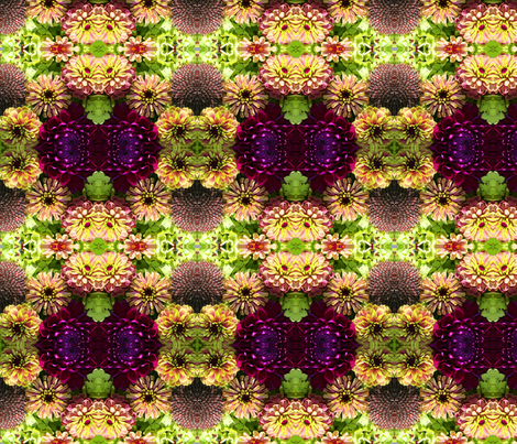 Lime and Magenta Zinnias 1175 fabric by falcon11 on Spoonflower - custom fabric