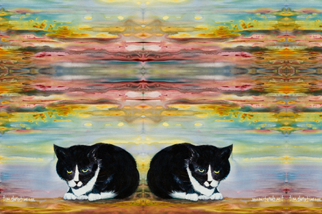 two mirrored tuxedo cats for 54 inch fabric fabric by islandia on Spoonflower - custom fabric