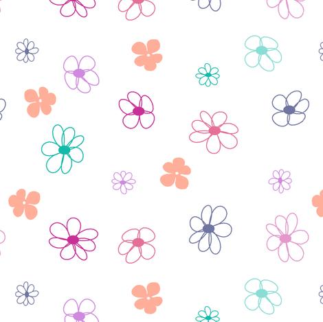 Melon Berry Flowers on White fabric by mandollyn on Spoonflower - custom fabric