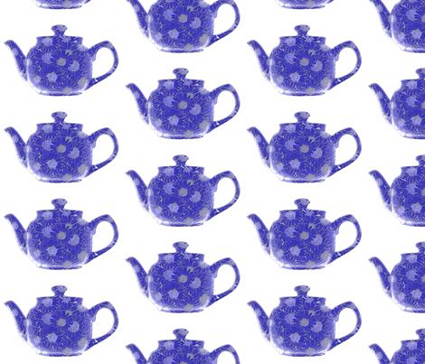 Teapot  Blue fabric by koalalady on Spoonflower - custom fabric