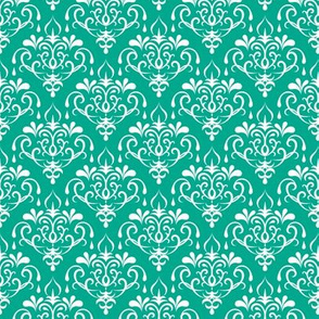 damask small - emerald and white