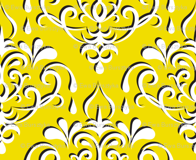 damask medium - yellow w/ shadow