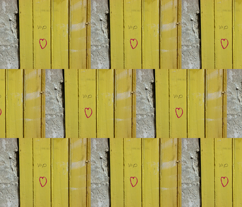 Love on a Mustard Door fabric by susaninparis on Spoonflower - custom fabric