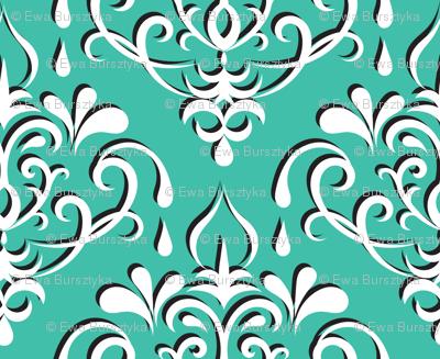 damask medium - turquoise w/ shadow