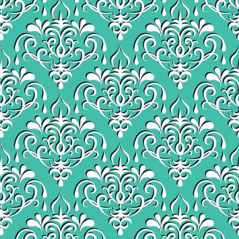 damask medium - turquoise w/ shadow fabric by ravynka on Spoonflower - custom fabric