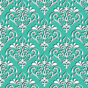damask medium - turquoise w/ shadow