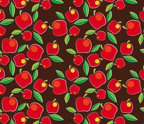 apples on brown fabric by creative_cat on Spoonflower - custom fabric