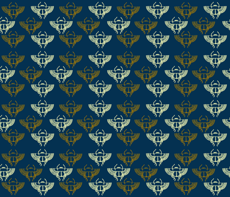 Scarabs on Blue fabric by otterspiel on Spoonflower - custom fabric