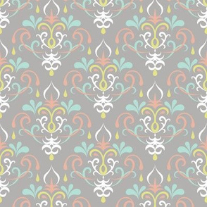 damask medium - pastels on gray