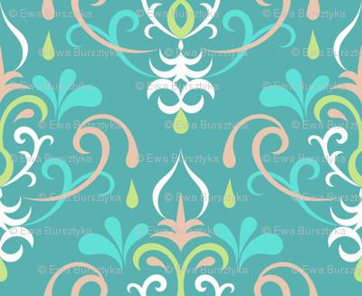 damask medium - pastel teals