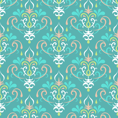 damask medium - pastel teals fabric by ravynka on Spoonflower - custom fabric