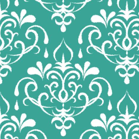 ikat damask large - emerald and white fabric by ravynka on Spoonflower - custom fabric