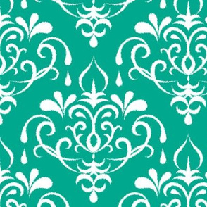 ikat damask large - emerald and white