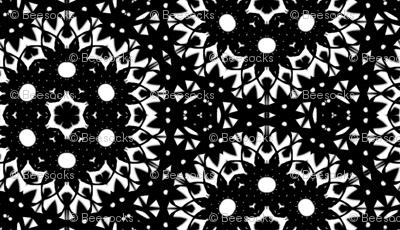 Midnight Doily black and white kaleidoscope