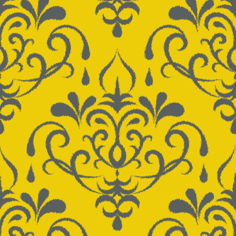 ikat damask large - gold and graphite fabric by ravynka on Spoonflower - custom fabric