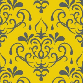 ikat damask large - gold and graphite