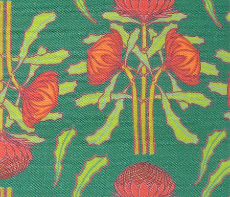 Spring waratahs on emerald green  (Art Nouveau) by Su_G_©SuSchaefer