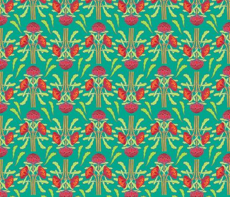Spring waratahs on emerald green by Su_G fabric by su_g on Spoonflower - custom fabric