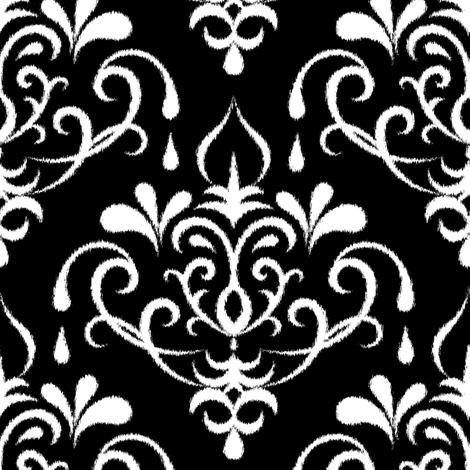 Ikat Damask Large Black And White Fabric Ravynka Spoonflower