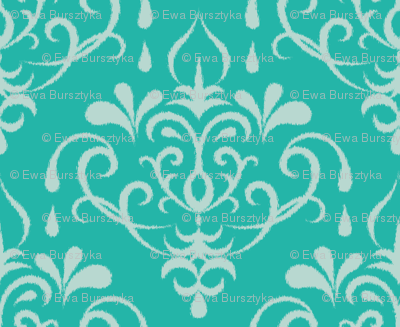 ikat damask large - turquoise and mint