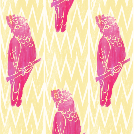 Galahs in the Sunshine - Hand Carved Stamps fabric by owlandchickadee on Spoonflower - custom fabric