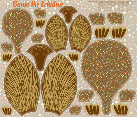 Banjo the Echidna fabric by cjldesigns on Spoonflower - custom fabric