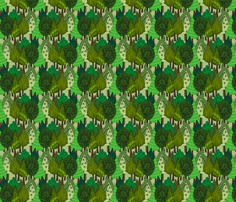 Doodle Trees in colour fabric by linsart on Spoonflower - custom fabric