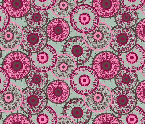 Japanese parasol warm fabric by cjldesigns on Spoonflower - custom fabric