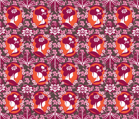 Japanese cameo warm fabric by cjldesigns on Spoonflower - custom fabric