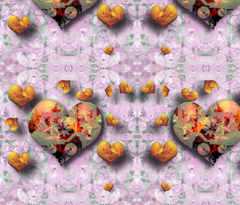 Steampunk Hearts fabric by animotaxis on Spoonflower - custom fabric