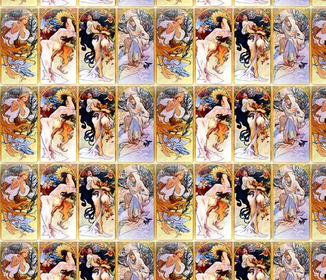 Alfons Mucha Four Seasons fabric by mandamacabre on Spoonflower - custom fabric