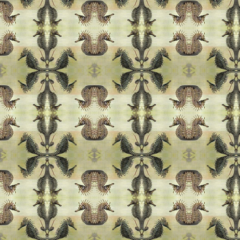 Vintage_sea_horse fabric by nype on Spoonflower - custom fabric
